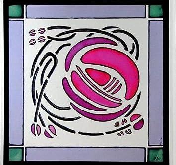 Decorativo Vidriera estática ventana se adhiere en un Mackintosh windyhill diseño de rosas: Amazon.es: Hogar