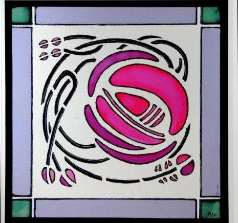 Static Window Clings in a Mackintosh Windyhill Rose Design