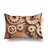 InterestPrint Vintage Retro Steampunk Mechanical Clock Detail Gears Pillow Cases Pillowcase 16x24, Rectangle Pillow Covers Protector for Home Couch Sofa Bedroom Decoration