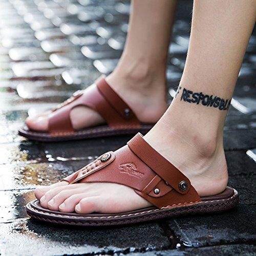 Xing Lin Sandali Di Cuoio Gli Uomini Di Sandali Estivi 45 Trend Con Due Uomini E Le Scarpe Da Spiaggia 46 Cool Trascinare E 48 Yards Casual Sandali Di Cuoio 47 Scarpe Marea ,43,6601Un Rosso Marrone
