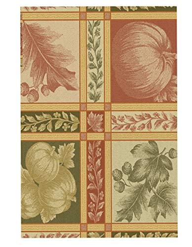 Newbridge Pumpkin Fields Autumn and Thanksgiving Print Vinyl Flannel Backed Tablecloth, Harvest Jacquard Look Vinyl Fall Tablecloth, (52 Inch x 70 Inch Oblong/Rectangle)