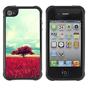 LASTONE PHONE CASE / Suave Silicona Caso Carcasa de Caucho Funda para Apple Iphone 4 / 4S / Africa Savannah Nature Tree Field
