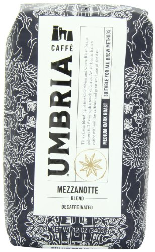 (Caffe Umbria Fresh Seattle Whole Bean Roasted Coffee, Mezzanotte Decaf Blend, 12 oz. Bag)