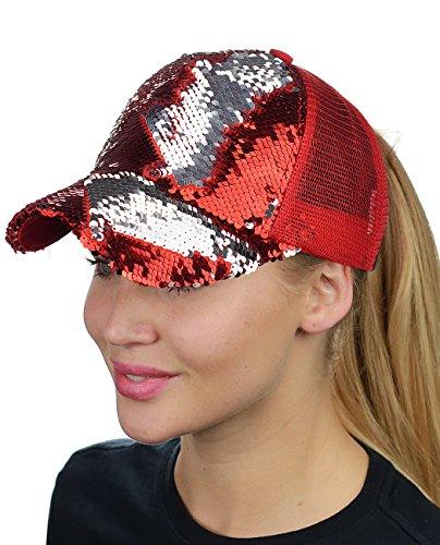 n Ponytail Reversible Magic Sequin Adjustable Baseball Cap, Red/Silver ()