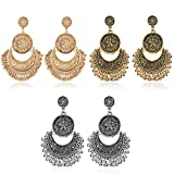Gmai Antique Ethnic Brocade Mexico Gypsy Engraved Lotus Hook Dangle Earrings for Women and Girls (3 pairs gypsy earrings)
