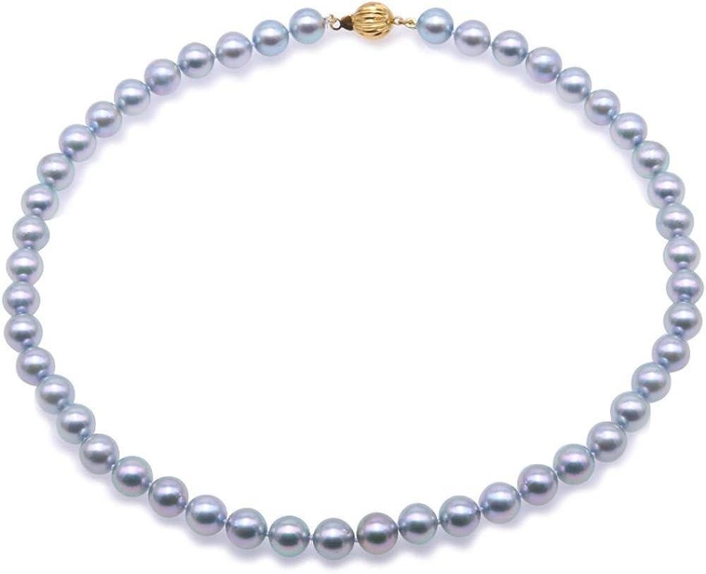 JYX Akoya - Collar de perlas de oro de 18 quilates, 9 – 9,5 mm, color gris natural, redondo, Akoya cultivado