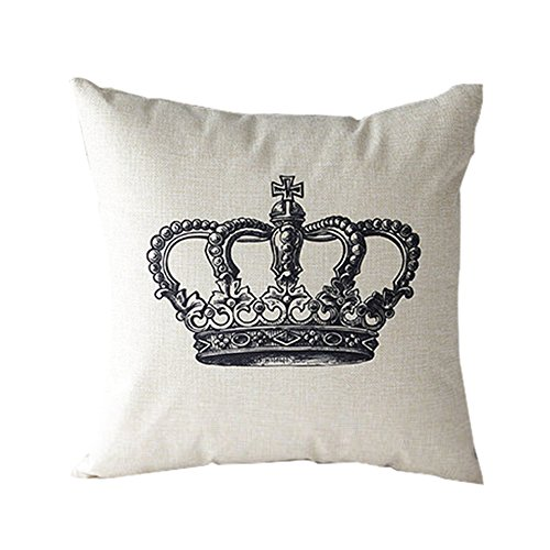 Price comparison product image Vintage Cotton Linen Square Cushion Pillow Case Cover Painting Retro Decorative Pillowcase 17 Inch (Crown)