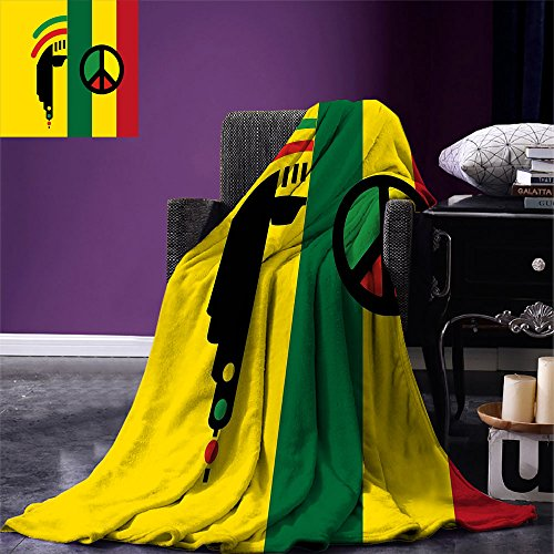 smallbeefly Rasta Custom printed Throw Blanket Iconic Barret Reggae and Jamaican Music Culture with Peace Symbol and Borders Velvet Plush Throw Blanket Red Green Yellow