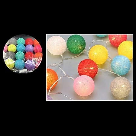 20 luces LED de bolas de algodón; Batería Dormitorio Decoración Vacaciones Guirnalda Navidad Iluminación Cadena: Amazon.es: Hogar