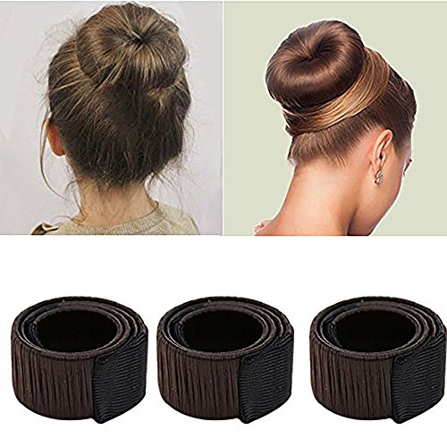 Ochioly Hair Bun Maker, Size 9.7 inch Magic Bun Shaper Donut Hair Styling for Women or Adults Long and Thick Hair Curler Roller Dish Headbands ,3 Pack (Hot Curlers For Thick Hair)