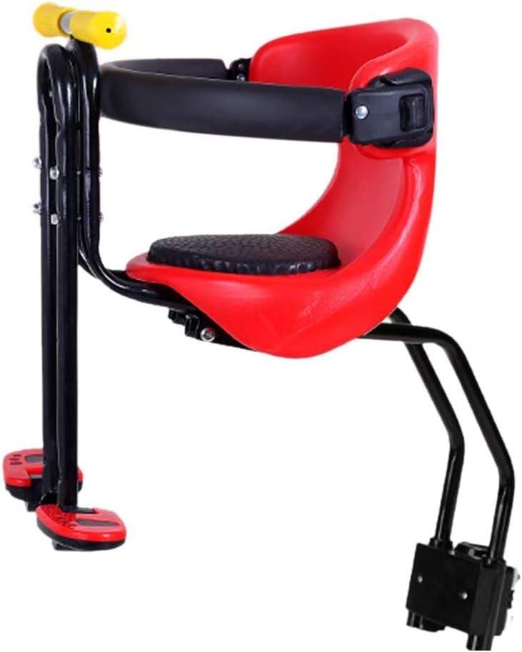 BAYUE Asiento de Bicicleta para niños Asiento Delantero extraíble Pedal de Asiento para niños con asa y Valla para Bicicletas de Hombres y Mujeres Rojo