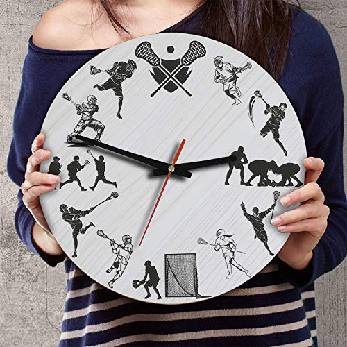 (VTH Global 12 Inch Silent Battery Operated Lacrosse Wood Wall Clocks Gifts for Team Players Fans Sport Lovers)