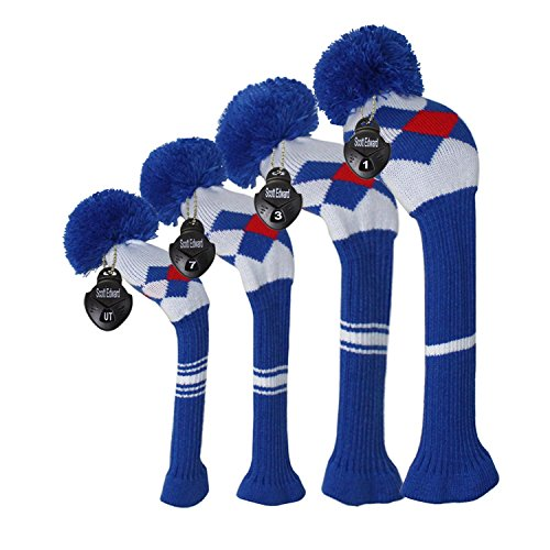 Scott Edward Blue Red White Argyles Golf Club Head Covers,Rotatable Number Tags, Acrylic Yarn Double-Layers Knitted, Set of 4