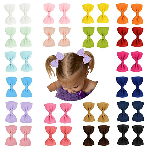 """Prohouse 40 PCS 3"""" inches Baby Girls Ribbon Hair Bow Clips Barrettes For Girl Teens Kids Babies Toddlers"""