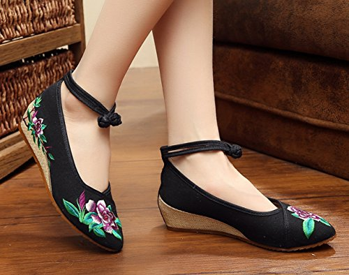 Shoes Women Sole Beijing Cheongsam Black Old Point AvaCostume Rubber Embroidery Toe pzqwz0Px
