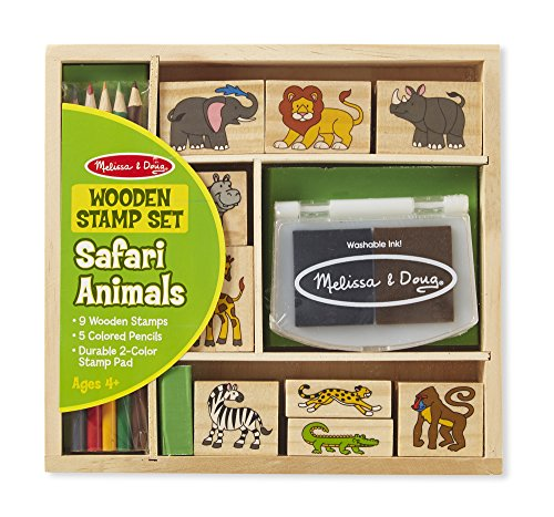 Melissa & Doug Wooden Stamp Set: Safari Animals - 9 Stamps, 5 Colored Pencils, 2-Color Stamp -