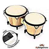 Hip Bongo Drums | 6 and 7 Inch Tunable Bongo Drums Set with Natural Hides Hickory Shells | Durable Safe Nickel Wood Metal Hide Materials for Music Lovers Enthusiasts | Tuning Wrench Included