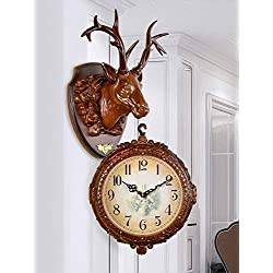 Fengfeng Double Sided Clocks, American Retro Two-Sided Wall Clock European Creative Deer Head Decoration Living Room Mute Wall Hanging Bell (Style : B)