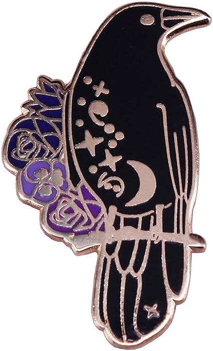 Gothic Crow Design Horror Illustration Flying Bird Raven Button Pin Badge 38 mm Dark Art