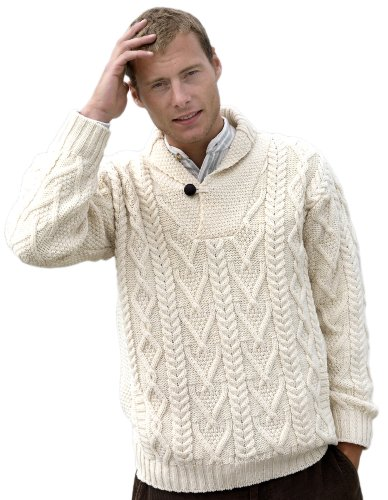 Mens Shawl Collar Aran Sweater V Neck Diamond Knitting Pattern