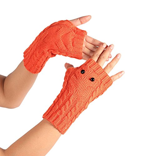 PASATO New Sale!Winter Solid Wrist Arm Hand Warmer Knitted Long Fingerless Gloves Hole Warm Gloves Mittens for Women(Orange,Free Size)