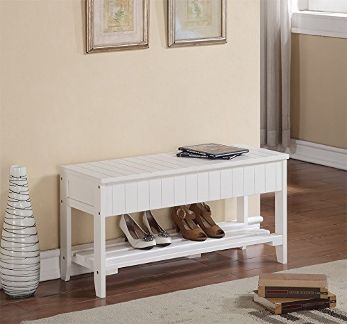 Entryway White Bench (White Finish Solid Wood Storage Shoe Bench Rack Shelf)