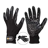 NOKEH Pet Grooming Glove Pet Hair Remover Mitt Amazingly Brushes Shedding Fitting Size Five Finger Design