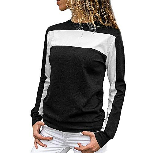 Rambling Women's Casual Loose Colorblock Sweatshirt Long Sleeve Round Neck Pullover Blouse ()