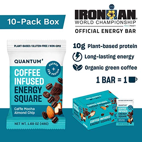 Quantum Energy Squares, Coffee Energy Bars with 10g of Vegan Protein, Low Carb Paleo Bars with Caffeine Chocolate and Good Fats from Nuts and Seeds, 10-Pack of Caffe Mocha Macchiato with Almonds