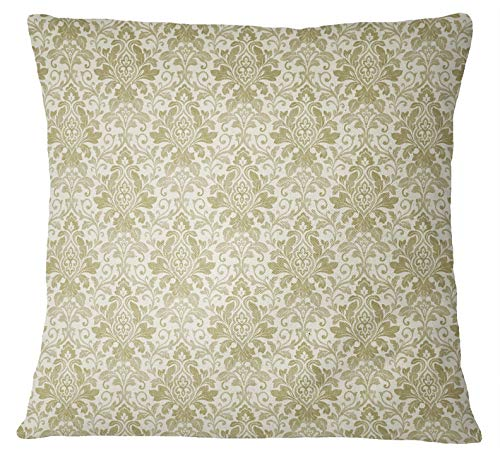 S4Sassy Light Olive Green Floral Damask Print Cushion Cover Cotton Poplin Pillow Case 2 Pcs-24 x 24 Inches - Damask Olive Bed Cover