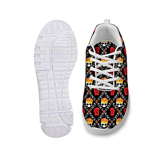 Comfortable Weight U Light Fashion Red Womens Cool Running Up Breathable Skull Shoes Skull Lace FOR Print Sneakers Black DESIGNS F8d8O