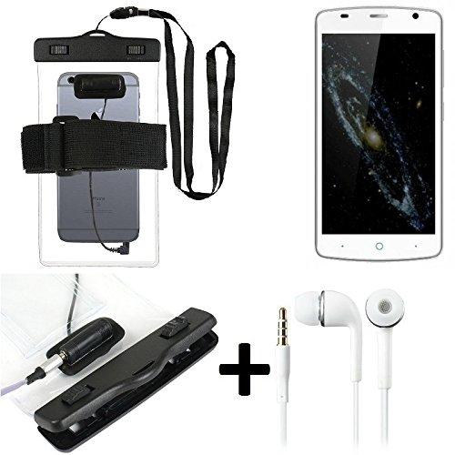 Estuche estanco al agua con entrada de auriculares para ZTE Blade L5 Plus + auricular incluido, transparente   Trotar bolsa de playa al aire libre caja brazalete del teléfono caso de cáscara bajo play