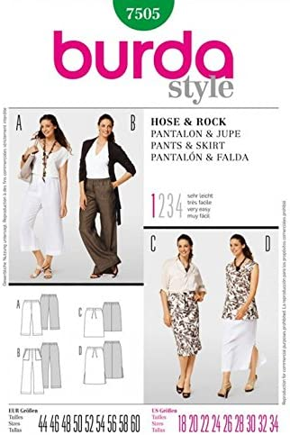 Burda para mujer 7505 - pantalones de patrones de costura para ...