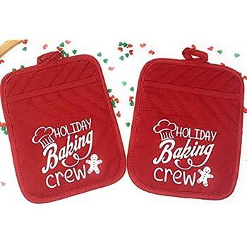 Christmas Pot Holder Set Holiday Baking Gift Potholder Cookie Oven Mitt Red