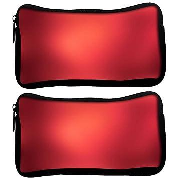 Snoogg Pack De 2 Lite fondo rojo diseño tela funda estudiante pluma lápiz caso bolsa de cosméticos bolsa de monedero: Amazon.es: Oficina y papelería