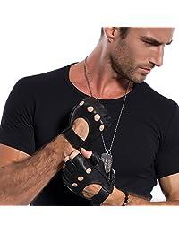 MATSU Men's Classic Soft Fingerless Lambskin Driving Gloves with Strap(Velcro-style) M1078