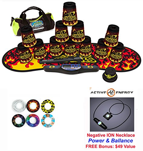 """UPC 667733511625, Speed Stacks Custom Combo Set - The Works: 12 BLACK FLAME 4"""" Cups, Cup Keeper, Quick Release Stem, Pro Timer, Gen 3 Premium Black Flame Mat, 6 Snap Tops, Gear Bag + FREE: Active Energy Necklace $49"""
