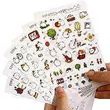 Hosaire Sticker 6 Sheet Cute Cartoon Transparent Calendar Diary Book Sticker Bunny Rabbit Scrapbook Planner Decoration