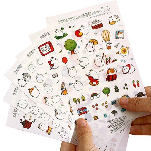 6 Feuilles Autocollant Sticker Adh/ésif D/écoratif Cartoon Album Scrapbooking