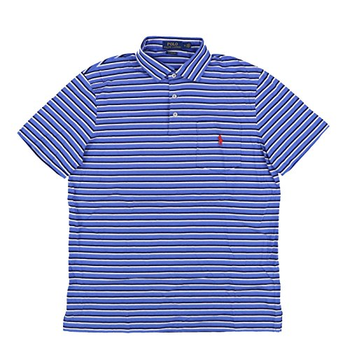 Polo Ralph Lauren Mens Interlock Pocket Polo Shirt (Large, Blue Stripes)