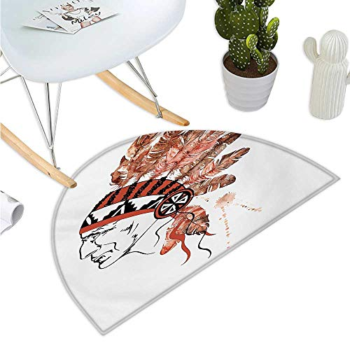 (Feather Semicircular Cushion Artistic Portrait Native American Tribe Chief with Traditional Headdress Bathroom Mat H 35.4
