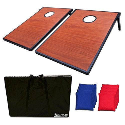 Cornhole Bean Bag Toss Game and Tic Tac Toe-Wooden Texture