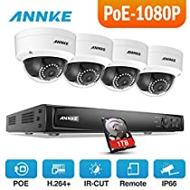 ANNKE 4-Channel 1080P Ture POE NVR Security System with 1TB Hard Drive + Four HD 2.0 Mega-Pixels(1920x1080) In/Outdoor Fixed CCTV Cameras, Power Over Ethernet (Pro 48 Volt Power)