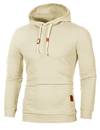 eb6a6040f83903 Sexyshine Men s Autumn Winter Casual Long Sleeve Funnel Neck Plaid Jacquard Pullover  Hooded Top Sweatshirt Hoodies