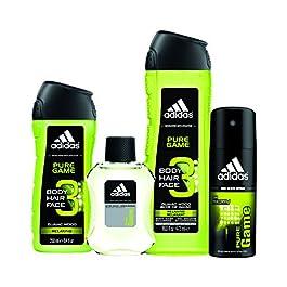 adidas Pure Game 4pc Set – 16.0 oz Body Wash, 8.4 oz Body Wash, 4.0 oz Body Spray, 3.4 oz Aftershave
