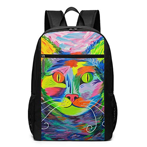 Expressionist Cats Backpack 17 Inch Suitable For School And Outdoor Use-Personality, Fashion