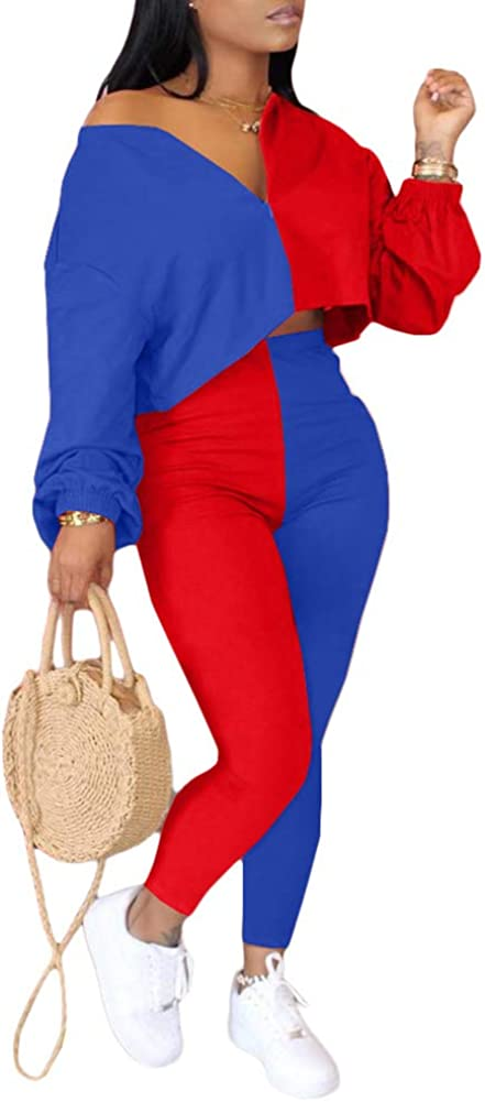 Long Sleeve Crop Top Sweatshirts Skinny Pants Jogger Set Tracksuits Women Casual 2 Piece Outfits Sweatsuit