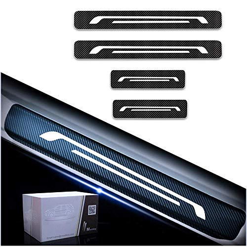 Maite For JEEP Cherokee/Compass/Grand Voyager/Patriot 4Pcs Door Sill Scuff Plate Welcome Pedal Protect Carbon Fiber Stickers Car Accessories Scratch Protector