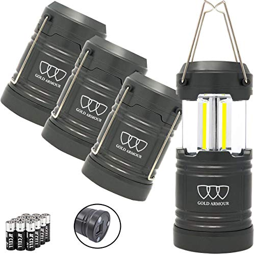 Gold Armour 4 Pack Portable LED Camping Lantern Flashlight with Magnetic Base – Emits 500 Lumens – Survival Kit Gear for Emergency, Hurricane, Power Outage with 12 aa Batteries