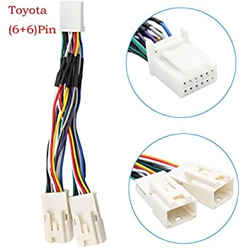 auxillary adapter,yomikoo y cable radio wiring harness for usb adapter cd  changer navigation device fit for toyota (6+6) pin 2003-2014 toyota camry  corolla